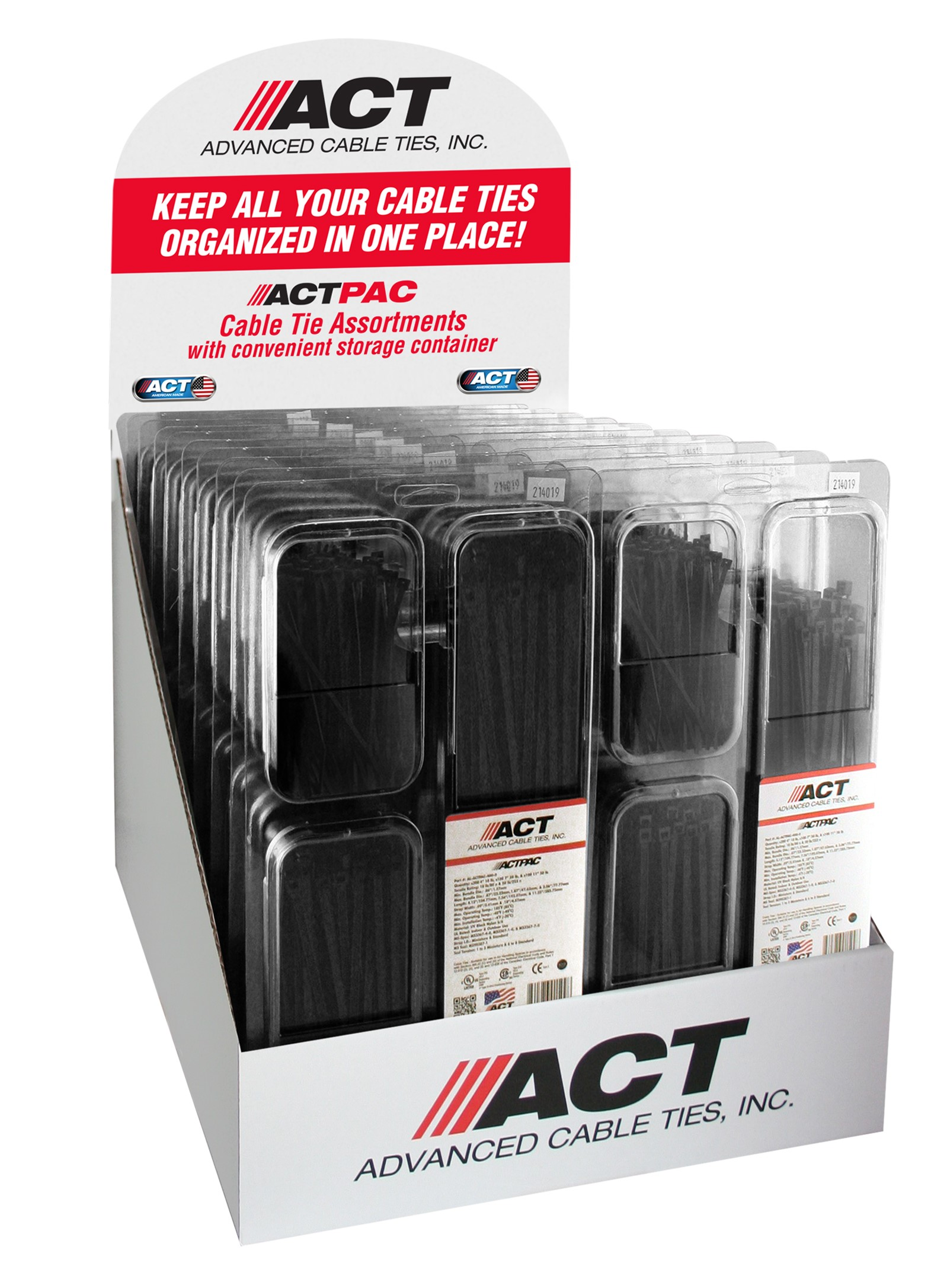 Specialty Pack Cable Ties-POP, UV Black 4″, 7″, 11″