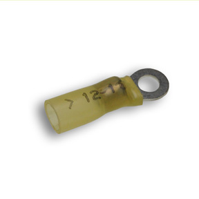 Heat Shrink Terminal, Ring, Yellow, # 10