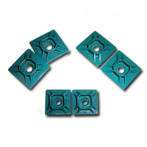 Metal Detectable Mounting Bases, 3/4″, Teal, Rubber Adhesive